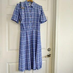 Vintage Leslie Fay purple white stripe dress